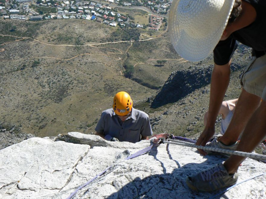 Rappelling down Table Mountain