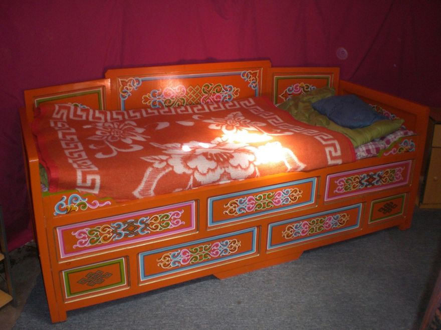 Inside a Mongolian yurt