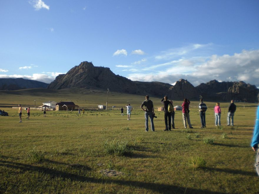 Playing football in Mongolia