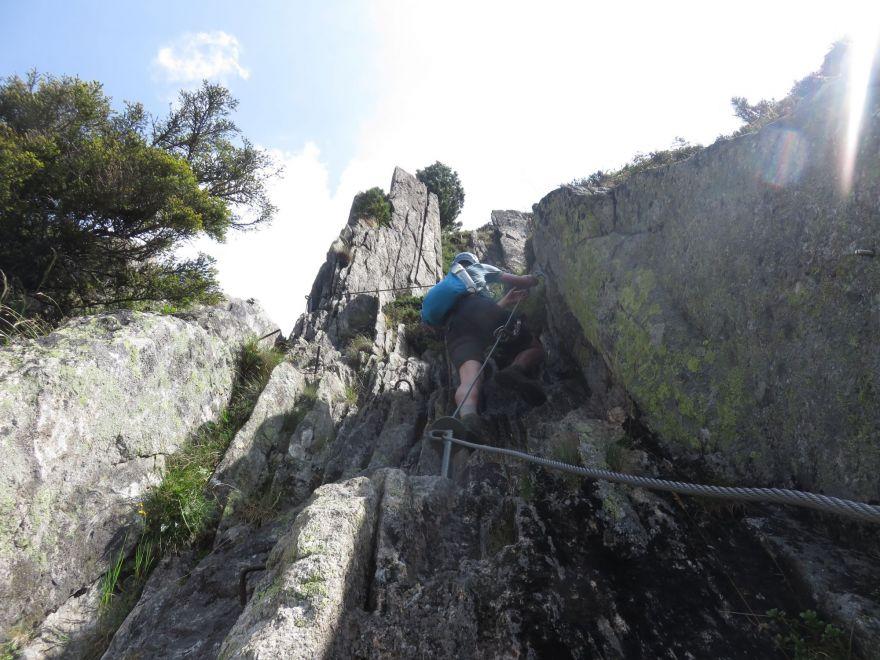 Climbing on the Klettersteig Diavolo