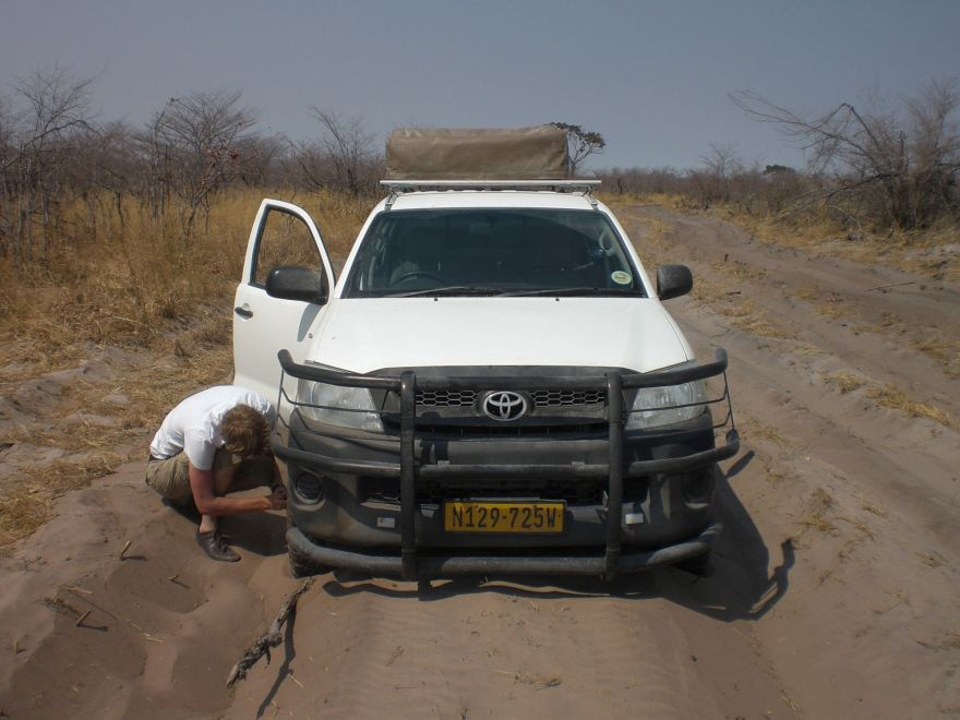 Jeep stuck in sand in Botswana