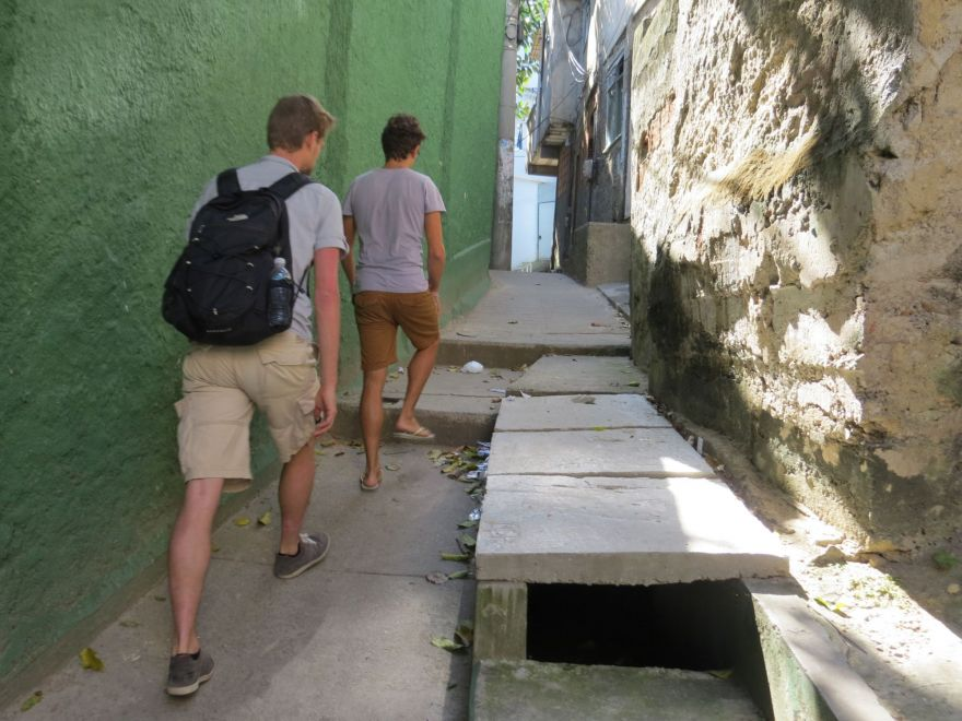 Walking besides open sewer