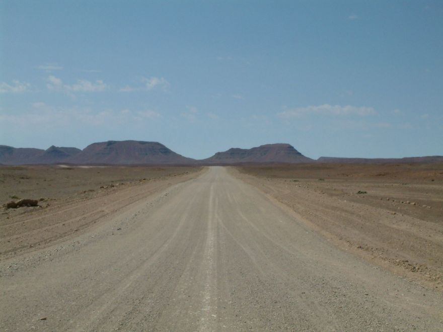 Empty road at the Skeleton Coast in Namibia