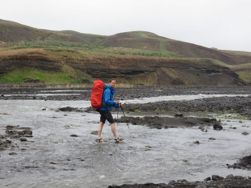 Crossing a river in Iceland